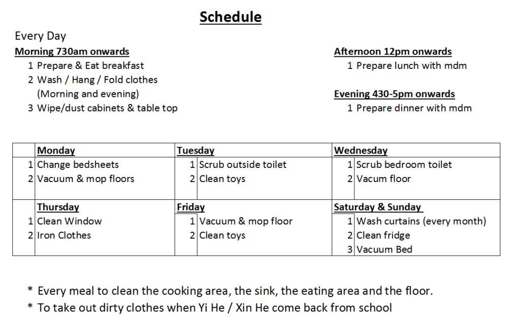 maid schedule